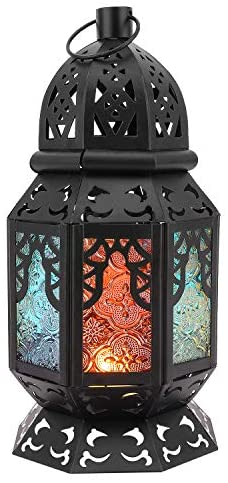 Lewondr Retro Iron Candle Lantern, 10.2 Inch Portable Moroccan Wrought Iron Stained Glass Decorative Lantern Candle Holder Hanging Lamp Wind Lantern for Home Decor, Small – Black + Colorful