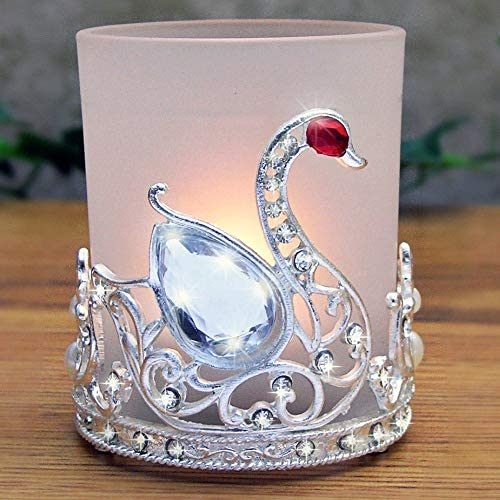 BANBERRY DESIGNS Swan Glass Candle Holder Filigree Silver Metal and Jewel Wedding Favor- Gifts for Her