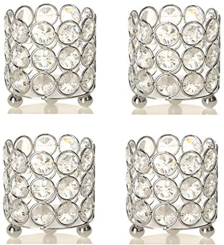 Set of 4 Crystal Tealight Votive Candle Holders Silver Wedding Table Centerpieces Home Decoration for Living Dining Room Housewarming