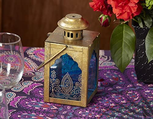 Kate Aspen Indian Jewel Table Lantern, Wedding Decorations, Party Favor, Tea Light Holder, Gold/Blue
