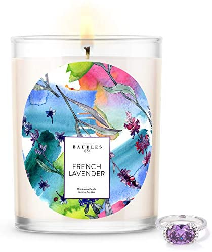 Baubles French Lavender Scented Premium Candle and Jewelry with Surprise Ring Inside | 18 oz Large Candle | Made in USA | Parrafin Free | Size 10
