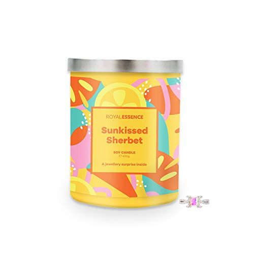 Royal Essence Sunkissed Sherbet Jewellery Candle (Surprise 925 Sterling Silver Jewellery Valued at $50 to $3,000) 90-100 Hours Burn Time, Ring Size 10