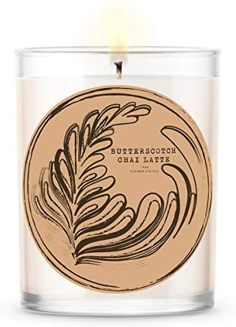 Kate Bissett Baubles Butterscotch Chai Latte Scented Premium Candle and Jewelry with Surprise Ring Inside | 18 oz Large Candle | Fall Collection | Made in The USA | Parrafin Free | Size 6
