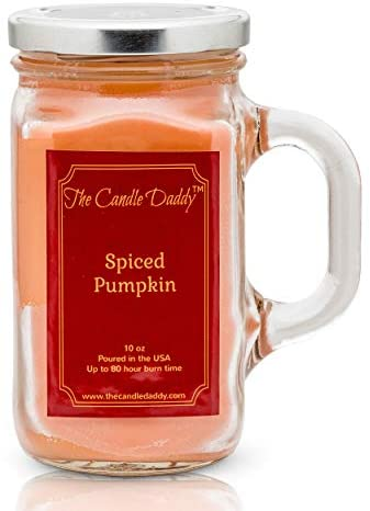 Spiced Pumpkin Fall Scented Candle - 10 oz - 80 Hour Burn jar Candle- Made in USA