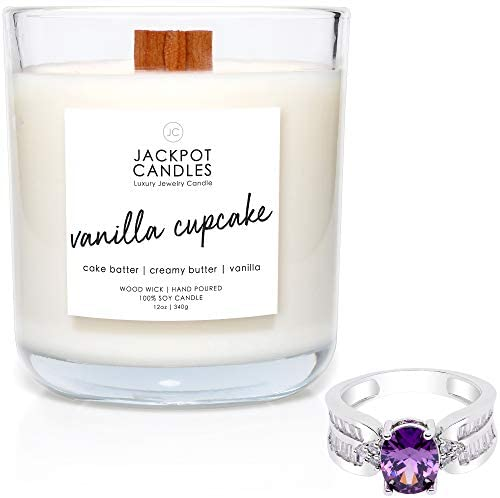 Vanilla Cupcake Natural Soy Candle with Jewelry Made in USA (Surprise Jewelry Valued at $15 to $5,000) Ring Size 6