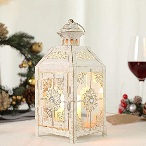 "JHY DESIGN Decorative Lantern 9.5"" High Metal Candle Lantern Vintage Style Hanging Lantern for Wedding Parties Indoor Outdoor(White with Gold Brush)."