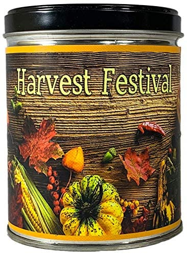 Our Own Candle Company Harvest Festival Scented Candle in 13 Ounce Tin with a Fall Leaves Label