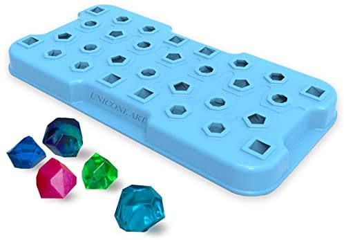 Makes 30 Crystals - Silicone Crystals Mold for Resin - Candles - Soap - Ice Cube - Jewelry - 4 Unique Shapes
