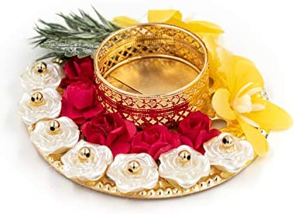 AakarShana Jewels T-LITE Candle Holder for Christmas Beautifully Crafted with Artificial Flowers Made in India