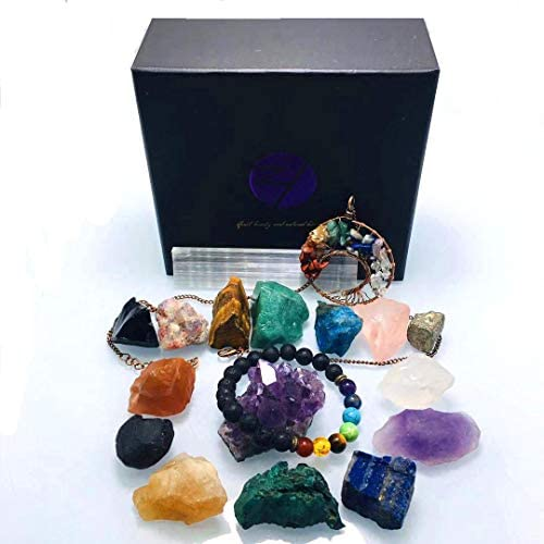Crystal and healing stone set, meditation crystal, 18 pieces in total. Includes 14 gems and crystals, Chakra Lava Bracelet, tree of life pendant, amethyst string, white selenite, product brochure