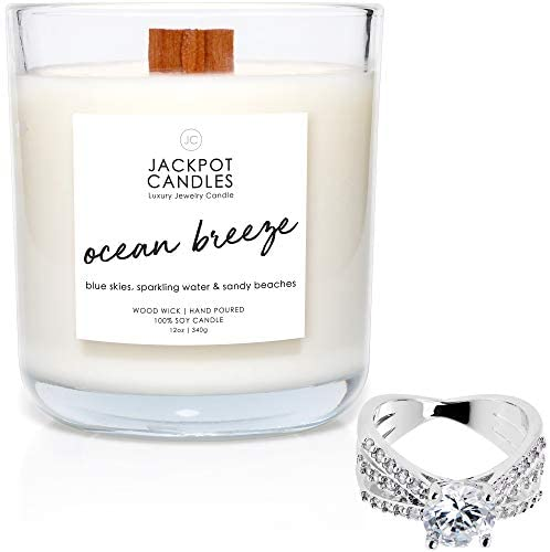 Jackpot Candles Ocean Breeze Candle with Ring Inside (Surprise Jewelry Valued at $15 to $5,000) Ring Size 7
