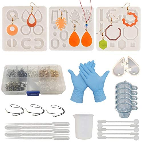 Resin molds Jewelry for Earring Resin Mold kit Silicone DIY Making Kit with Earring Hooks Epoxy Jump Rings for Resin Casting Craft