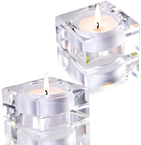 2 Pack Square Tealight Candle Holders Dinner Table Decor for Home