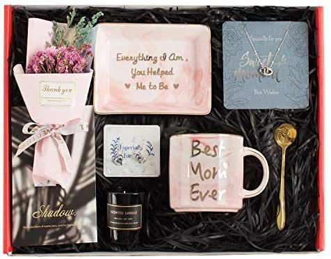 Gifts for Mom - Mom Gifts Set Includes Sterling Silver Necklace,Earrings, Pink Marble Jewelry Trays,Pink Marble Mug, Scented Candle and Flower – Best Mother's Day Birthday Gift Set