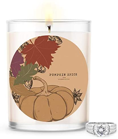 Kate Bissett Baubles Pumpkin Spice Scented Premium Candle and Jewelry with Surprise Ring Inside | 18 oz Large Candle | Fall Collection | Made in The USA | Parrafin Free Size 07