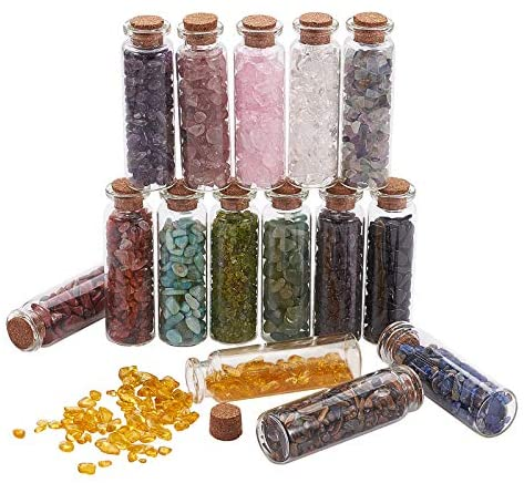 PH PandaHall 15 Colors Mini Glass Wishing Bottles, Undrilled Tumbled Gemstone Crystal Chips Healing Reiki Stones Set for Pendants Necklace Jewelry Making Candles Home Decoration, 15 Bottles/Set