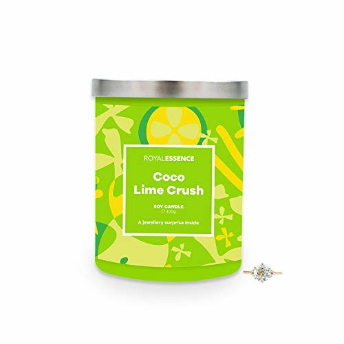 Royal Essence Coco Lime Crush Jewellery Candle (Surprise 925 Sterling Silver Jewellery Valued at $50 to $3,000) 90-100 Hours Burn Time, Ring Size 9