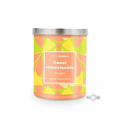 Royal Essence Sweet Honeysuckle Jewellery Candle (Surprise 925 Sterling Silver Jewellery Valued at $50 to $3,000) 90-100 Hours Burn Time, Ring Size 10