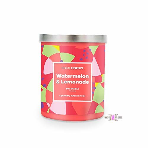 Royal Essence Watermelon Lemonade Jewellery Candle (Surprise 925 Sterling Silver Jewellery Valued at $50 to $3,000) 90-100 Hours Burn Time, Ring Size 10
