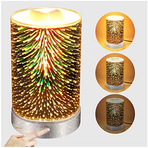 3D Glass Wax Warmer for Scented Wax with Touch dimming Control Wax Melts Burner Candle Melter Fragrance Warmer for Home Office Bedroom Living Room Christmas Gifts & Decor (3D Fireworks)