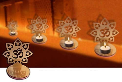 4 Pc Set Om Shape Diwali Shadow Diya. Deepawali Traditional Decorative Diya in Om Shape for Home/Office..Religious Tea Light Candle Holder Stand. Diwali Decoration Diwali Gift..Indian Gift Items..