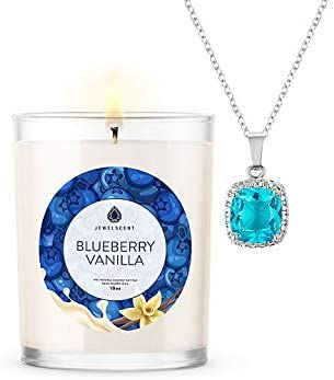 JewelScent Blueberry Vanilla Signature 10z Candle and Jewelry with Surprise Pendant Inside | Made in USA | Parrafin Free | Natural Soy Blend | ECO Friendly Organic (Earring)